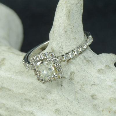 Cushion Moissanite Halo Ring with Diamond Accents
