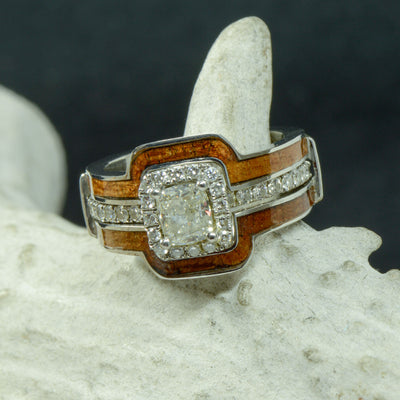 Cushion Moissanite Halo Ring with Diamond Accents and Koa Wood Ring Guard