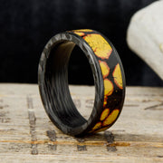 Yellow Dinosaur Bone Inlay in Carbon Fiber