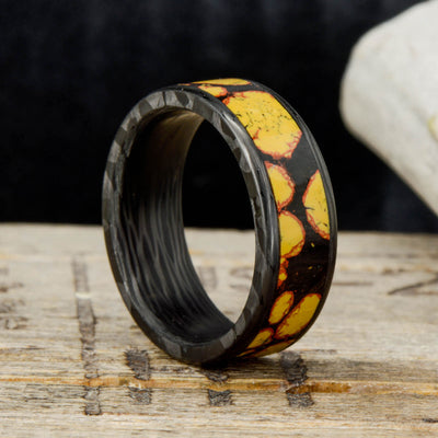 Yellow Dinosaur Bone Inlay in Forged Carbon Fiber