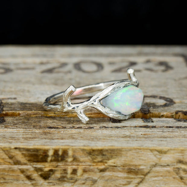 Tree Branch ring with Raw Cut Opal