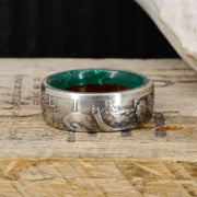 Silver Half Dollar Ring with Malachite & Red Jasper ***