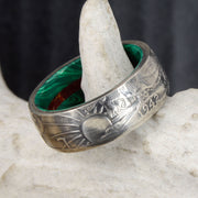 Silver Half Dollar Ring with Malachite & Red Jasper