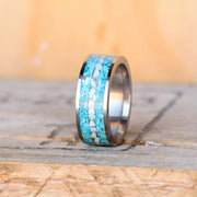 Crushed Turquoise & Larimar in Tungsten or Ceramic Channel