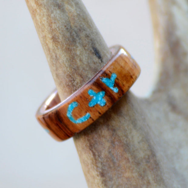 Rosewood with Engraved CTR in Turquoise