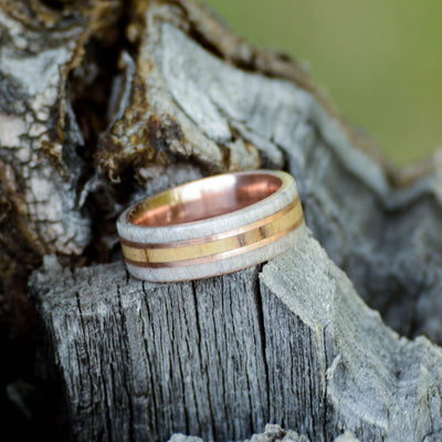 Spalted Maple, Elk Antler, & Rose Gold Pinstripes