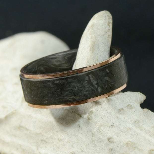 """The Gold Mosaic"" - Forged Carbon Fiber with Rose Gold Edges"