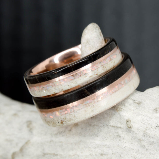 Black Buffalo Tusk, Rose Gold, Antler, and White Opal