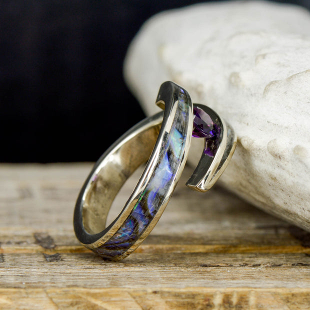 White Gold, Abalone & Amethyst in a Tension Setting