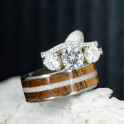Antler, Koa Wood, & Diamond Engagement Ring