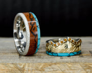 Rosewood, Antler, Turquoise, Citrines, & Gold with Engraved Mountains