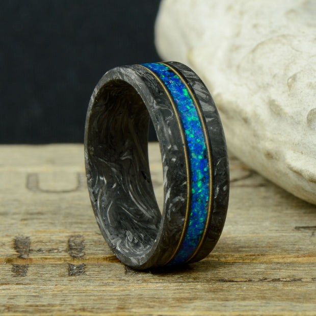 """The Cithern"" - Forged Carbon Fiber Ring with Blue Opal and Guitar Strings"
