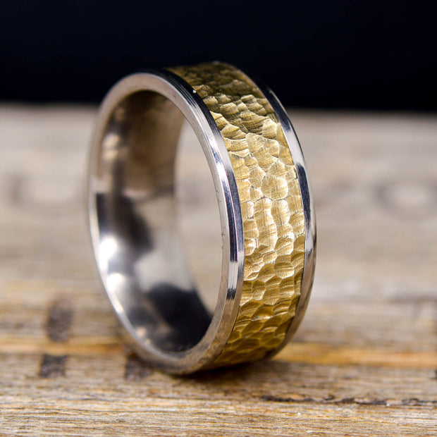 Titanium with Hammered Yellow Gold