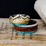 Rosewood, Antler, Turquoise, Diamonds, & Gold with Engraved Mountains
