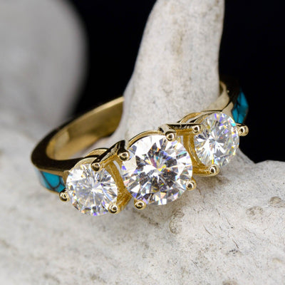 Yellow Gold 3 Moissanite Ring with Turquoise Band