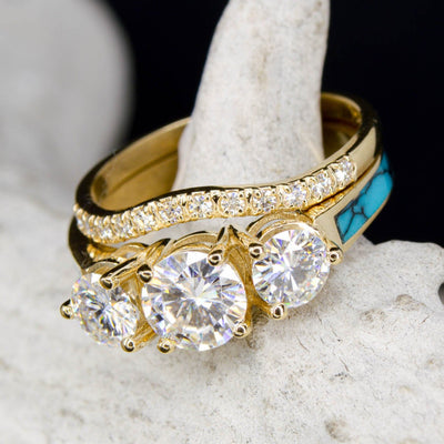 Yellow Gold, 3 Moissanites, Turquoise with Stacking Band