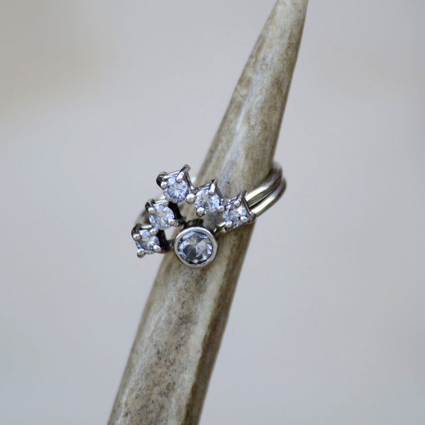 White Gold Solitaire with Diamond V-Ring Stacking Band