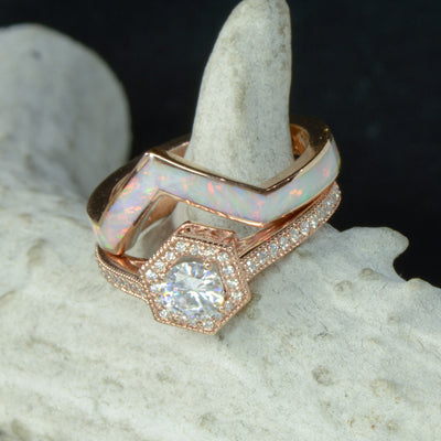 Hexagon Halo Ring with White Opal V-Ring
