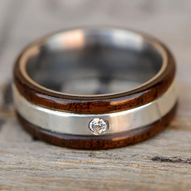Walnut and Silver with Flush Set Moissanite