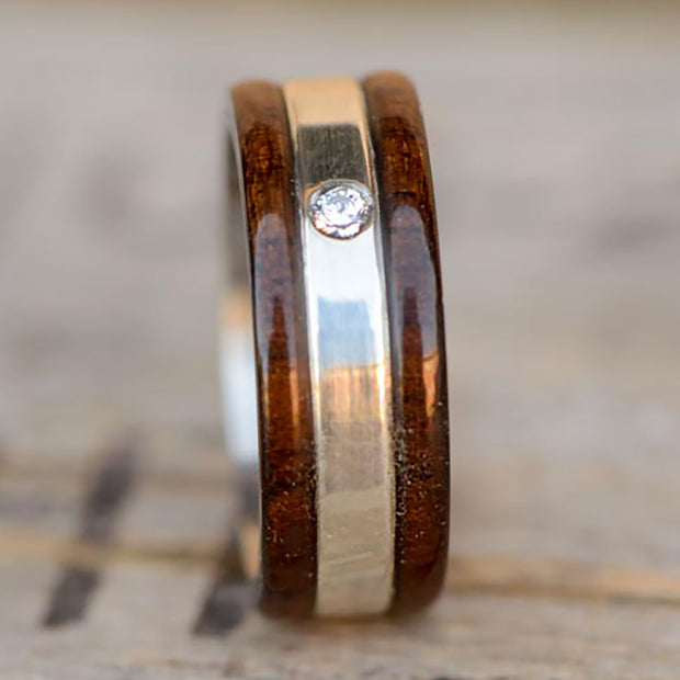 Walnut and Silver with Burnish Set Diamond