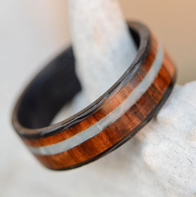 Forged Carbon Fiber Ring with Rosewood & Larimar Stone