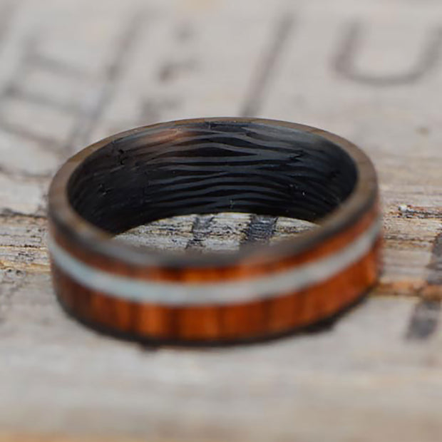 Carbon Fiber Ring with Yucatan Rosewood & Larimar Stone