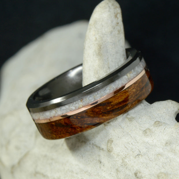 Black Zirconium, White Opal, Rose Gold, & Koa Wood
