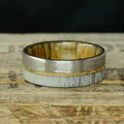 Brushed Titanium, Yellow Gold, Antler, & Maple Sleeve