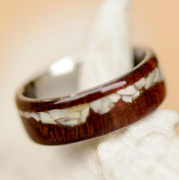Ironwood & Crushed Elk Ivory Inlaid in Mountain Shape