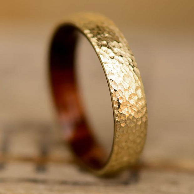 Hammered Gold with Ironwood Inner Band