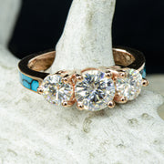 Rose Gold, 3 Moissanites, Turquoise with Stacking Band