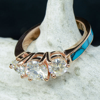 Rose Gold 3 Moissanite Ring with Turquoise Band