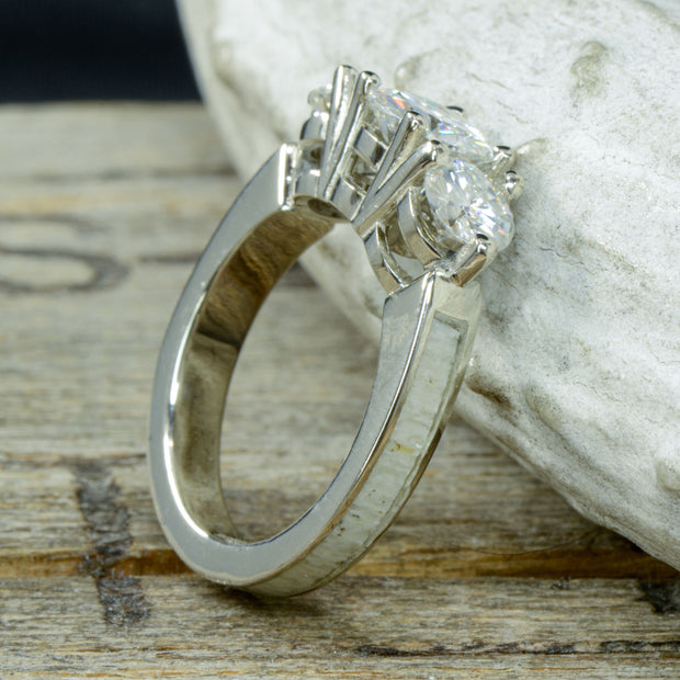 White Gold, 3 Moissanites, Antler with Stacking Band