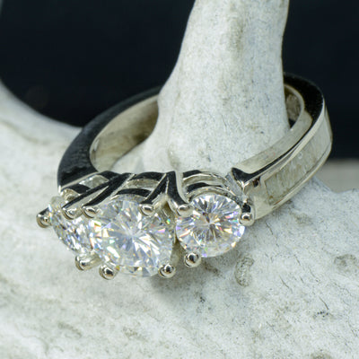 White Gold 3 Moissanite Ring with Antler Band