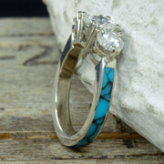 White Gold 3 Moissanite Ring with Turquoise Band