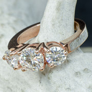 Rose Gold 3 Moissanite Ring with Antler Band