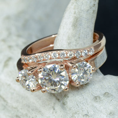 Rose Gold, 3 Moissanites, Antler with Stacking Band