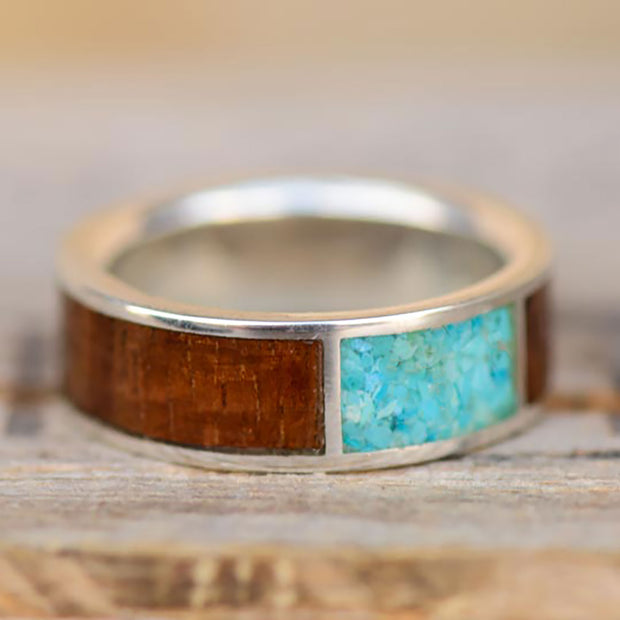 Koa Wood Channel Ring with Turquoise Square