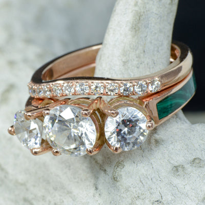 Rose Gold, 3 Moissanites, Malachite with Stacking Band