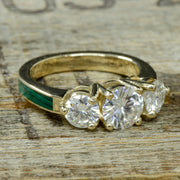 Yellow Gold, 3 Moissanites, Malachite with Stacking Band