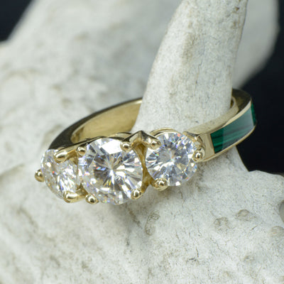 Yellow Gold 3 Moissanite Ring with Malachite Band