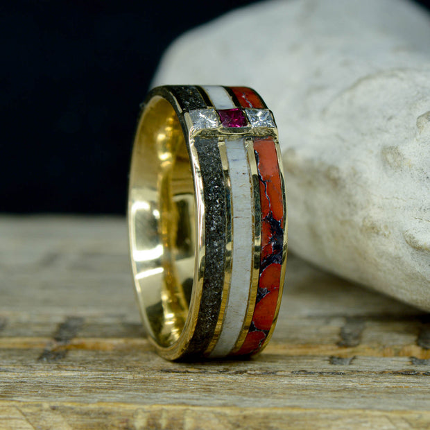 Gold, Meteorite, Antler, Dinosaur Bone, Diamonds, & Ruby ***