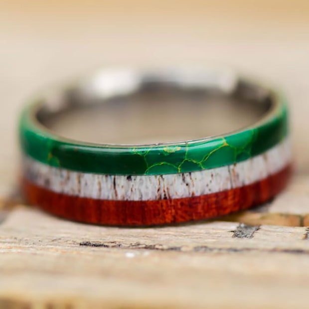 Mexican Flag Ring - Jade, Antler, & Redheart Wood