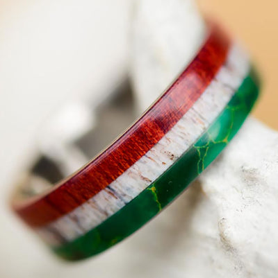 Mexican Flag Ring - Arizona Jade, Antler, & Bloodwood