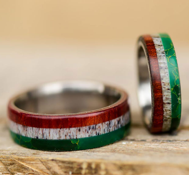 Mexican Flag Rings - Arizona Jade, Antler, & Bloodwood