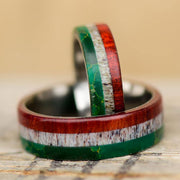 Mexican Flag Rings - Jade, Antler, & Redheart Wood