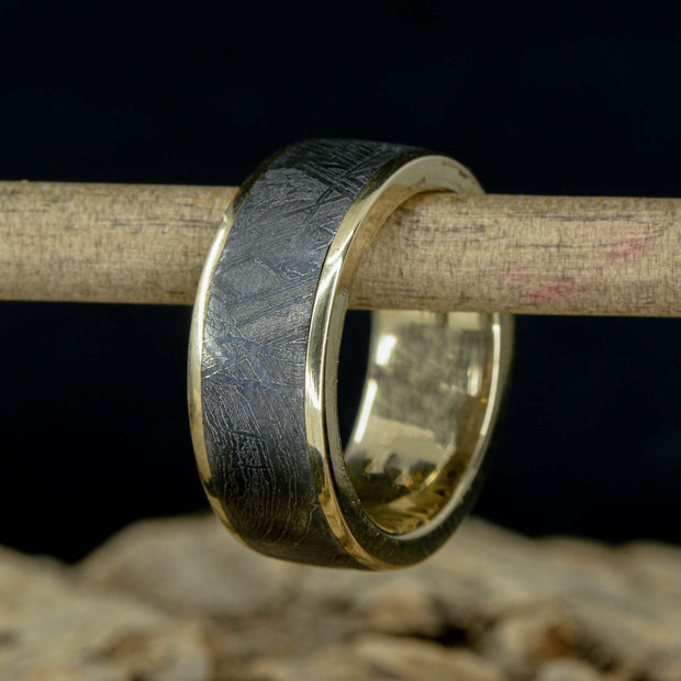 Yellow Gold Ring with Etched Gibeon Meteorite ***