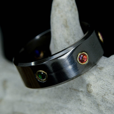 Endgame Infinity Gauntlet Ring, Gold, Black Zirconium, & Gemstones ***