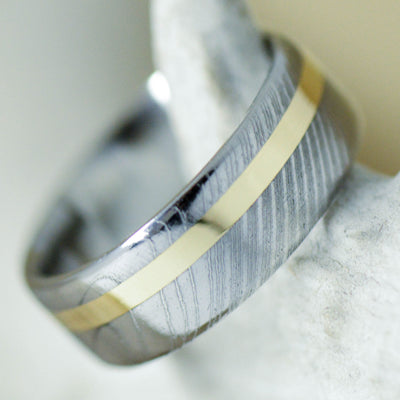 Damascus Steel & Offset Silver or Gold