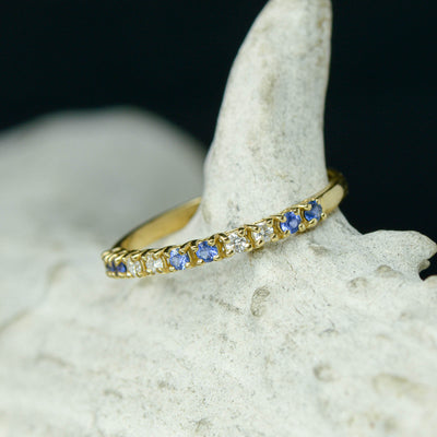 Gold Half Infinity Band with Diamonds & Sapphires